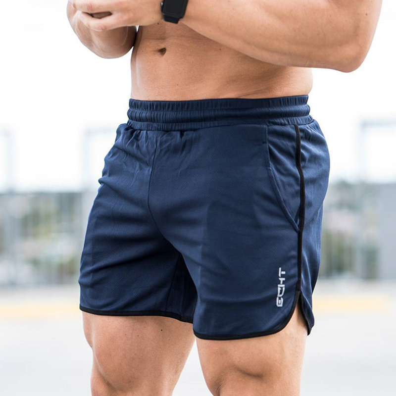 Summer Style Mens Slim Shorts Calf-Length Fitness Bodybuilding Male Casual Workout Breathable Mesh Short Pants Beach Sweatpants