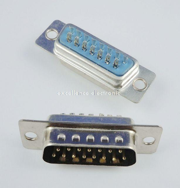 50 Pcs D-SUB Male Solder Type 15 Pin Plug Adapter Connector 2 Rows DB15M 10 pcs d sub 15 pin male solder type plug adapter vga connector serial ports db15m