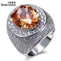 DreamCarnival 1989 Brilliant quality Colorful stones Yellow Blue Red Eye catching Aneis Feminino Big Luxury Wedding Ring SJ21828