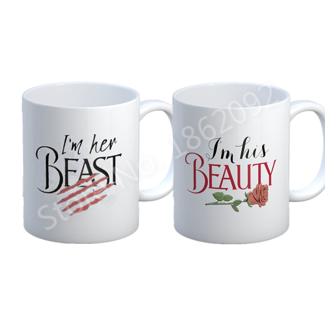 Funny Beauty and The Beast Mug Set Novelty His Her Couple Coffee Cup ...