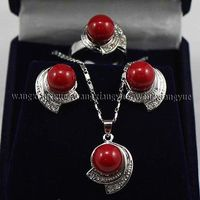 Women S Cospay Women S Hair Full Wigs Red South Sea Shell Pearl Earring Ring Necklace