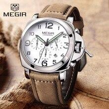2016 New MEGIR Luxury Brand Quartz Watches Men analog chronograph Clock Men Sports Military Leather Strap Fashion Wrist Watch
