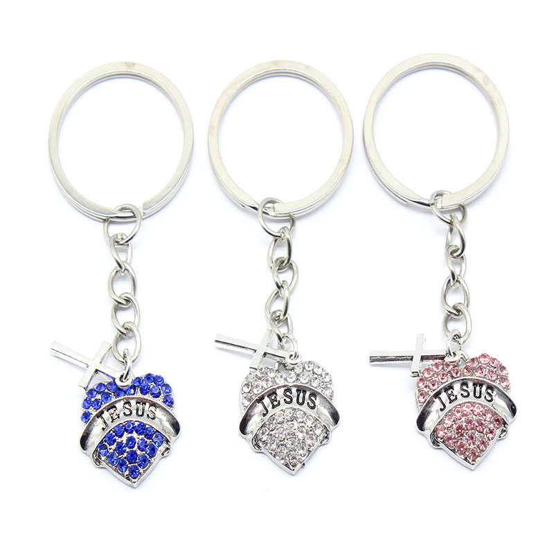 Charming 7 Colors LED Crystal Heart Rose Key Chain Ring Keyring Keychain UK