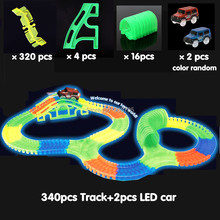340pcs Slot race track 2LED car Glow track car Bend Flex Glow in the Dark assembly
