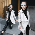 Girls child trench outerwear medium-long 2016 child spring and autumn child girl slim waist top