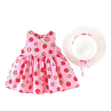 Toddler Baby Kids Girls Summer Fruit Princess Dresses Hat Casual Outfits Set vestidos de fiesta de nocherobe fille modis F1(China)