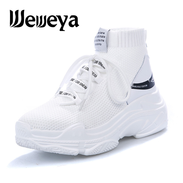 c0075857bb7ce US $18.35 32% OFF|Shark Logo High Top Sneakers Women Knit Upper Breathable  Sock Shoes Thick Sole 4.5 CM Trend sapato feminino Black / White-in Running  ...