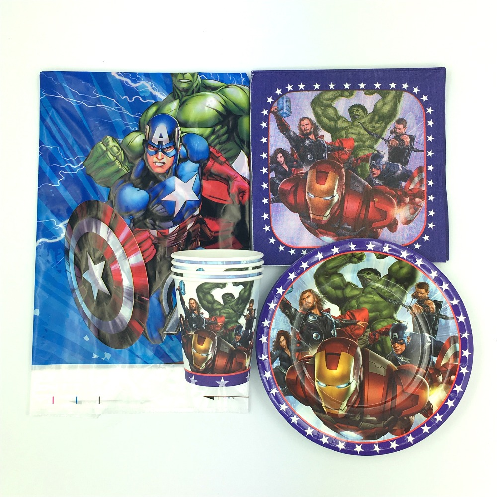 62pcs Avenger theme 20pcs napkins 20pcs cups 20pcs plates 2pcs tablecover for children favors gift birthday party supplies in Disposable Party Tableware from Home Garden