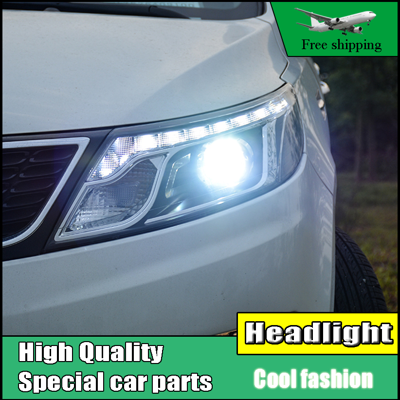Car Styling Head Lamp Case For Kia K2 Rio Headlights 2011-2014 LED Headlight Daytime Running Light Bi Xenon Lens Xenon Low Beam автоинструменты new design autocom cdp 2014 2 3in1 led ds150