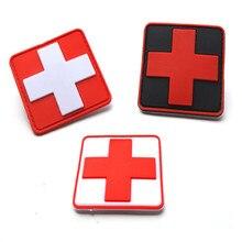 ПВХ нашивка медицинская помощь Красного Креста главе военные нашивки для поднятия боевого духа значок для одежды Костюмы 6*6 см