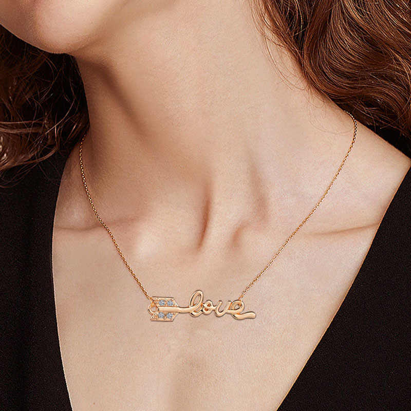 Gold Silver Curb Chain Choker Custom Name Pendant Necklace Personalized Jewelry Christmas Gift love distortion arrow Necklaces