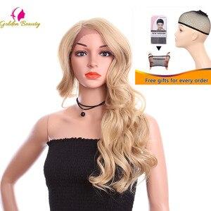 Image 4 - זהב יופי 24 אינץ Loose גל פאה ארוך שיער סינטטי תחרה מול פאות צד חלק Ombre חום בלונד קוספליי פאות עבור נשים