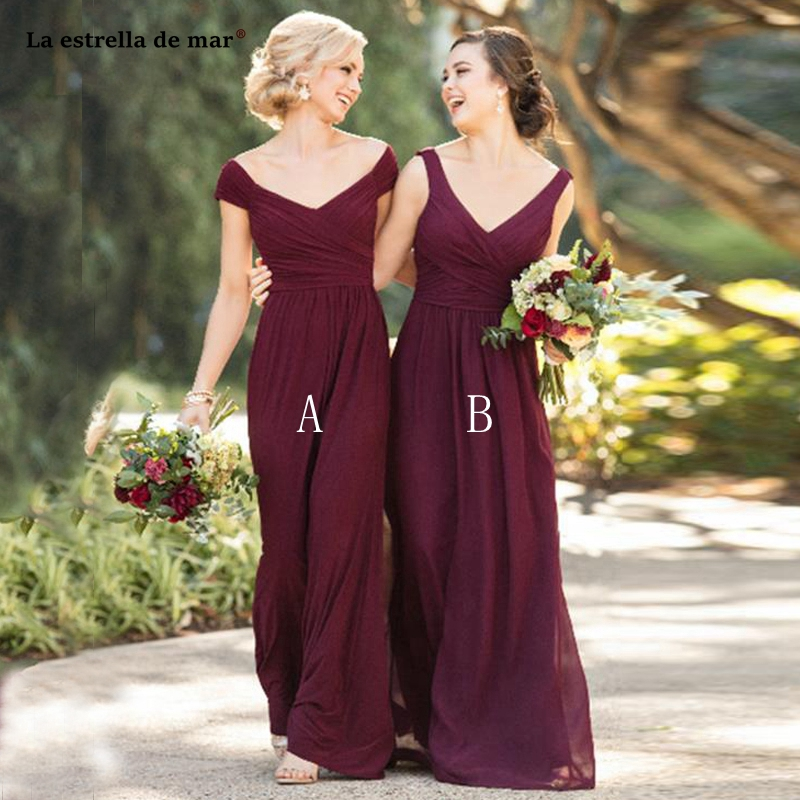 Wedding party dress2019 new chiffon <font><b>sexy</b></font> V neck cap sleeve 2 style burgundy <font><b>bridesmaid</b></font> <font><b>dresses</b></font> long vestido madrinha image