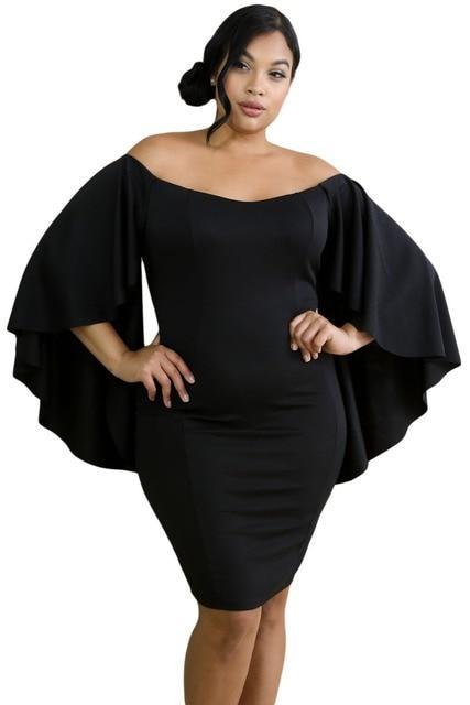 7764545a5160 Aletterhin Negro Blanco Hombro Manga de la Mariposa Curvy Vestido Elegante  Mujer de la Raya