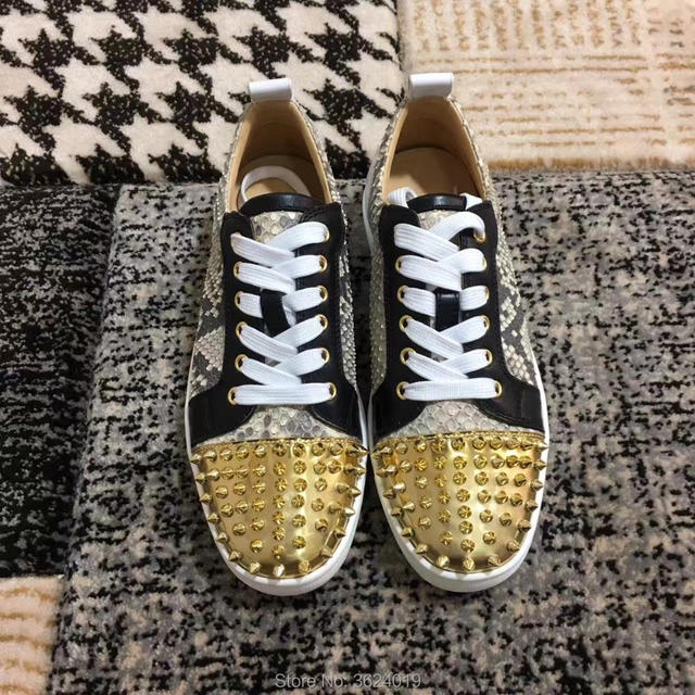 0b5cdf923fd Low Cut Shoes cl andgz Snake Python Graffiti Skin Glod Rivets Lace Up  Fashion Red bottom Shoes Sneakers leather casual Flat 2018