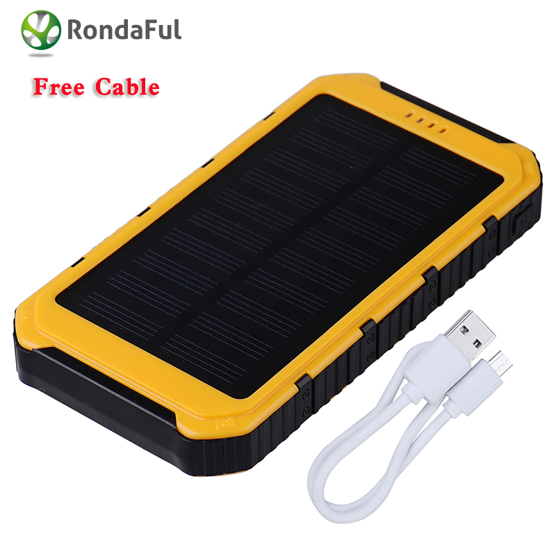 New 8000mAh Solar Charger Phone External Battery Pack Dual USB Power Bank for Iphone 5 5s