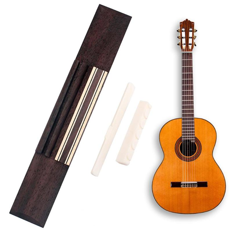 KOKO Rosewood Guitar Bridge+ Cattle Bone Guitar Nut+ Cattle Bone Guitar Saddle for Classic Guitar Accessories