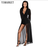 2019 Sexy Solidy Black Women Rompers Bodycon Jumpsuit Deep V Neck Overalls Maxi Skirt Overlay Elegant Party Jumpsuits