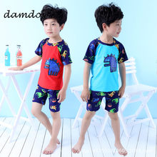 ec4808ef413d8 2019 Bikini Children Swimsuit Boy Swimming Wear Baby Boys Split Clothes  Beach Dress Swim Suit Print Dinosaur Shark With Cap Hat