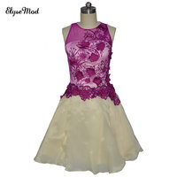 Real Photo Grape Ombre Cocktail Dresses 2017 Knee Length Party Dress Summer Embroidery Ruffles A Line Cocktail Short Cocktail Dr