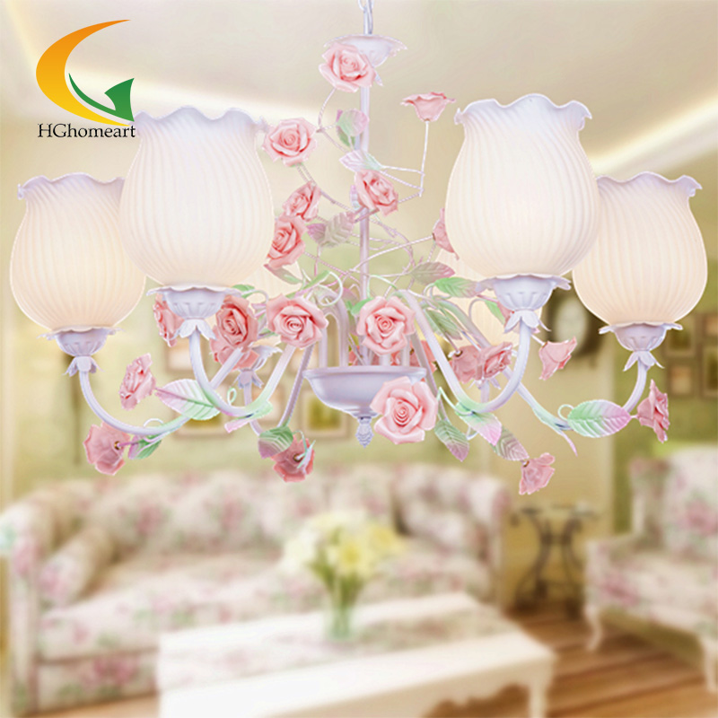 110V-240V Korean princess wrought iron bedroom modern lighting American pastoral style living room chandelier Children korean princess wrought lamp iron bedroom led lamp american pastoral style living room children chandelier