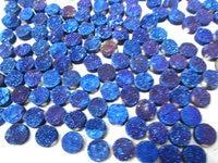 Free ship--AA Grade 50pcs 6-14mm Cabochon Calibrated Duzy Drusy Agate Titanium Quartz Round Coin AB mistic blue Assortment charm