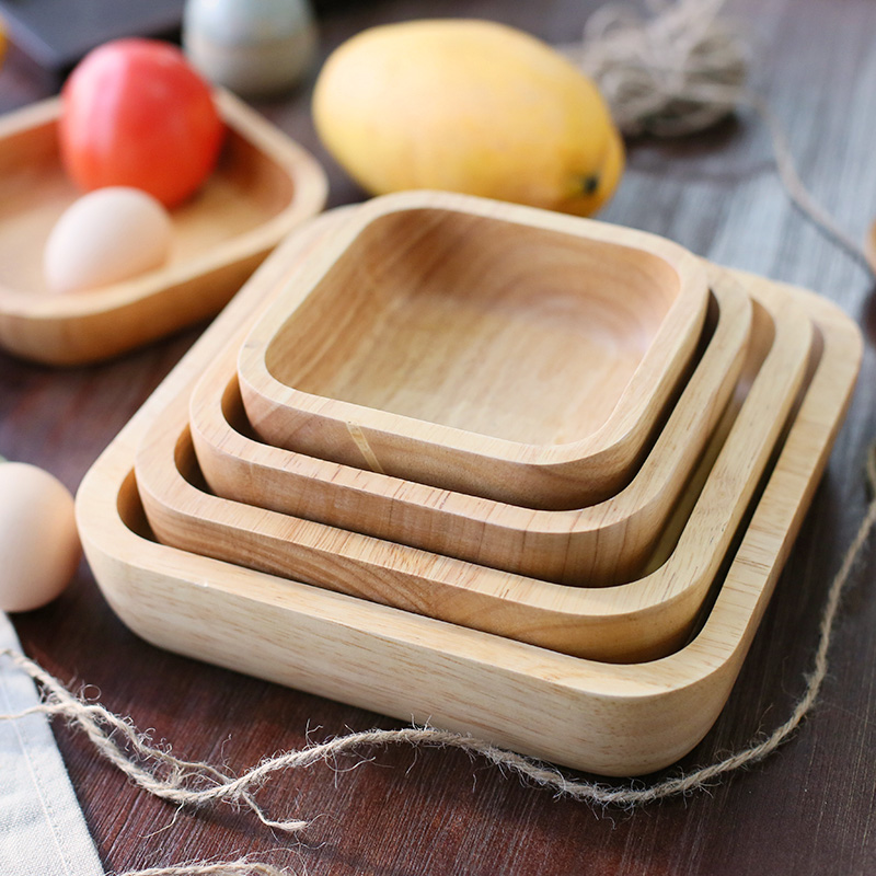 Visual Touch 4-Size Nature Japanese Style Purely Handmade Square Solid Rubber Wood Plate Dessert Dish Soup Dishes Rice Bowls