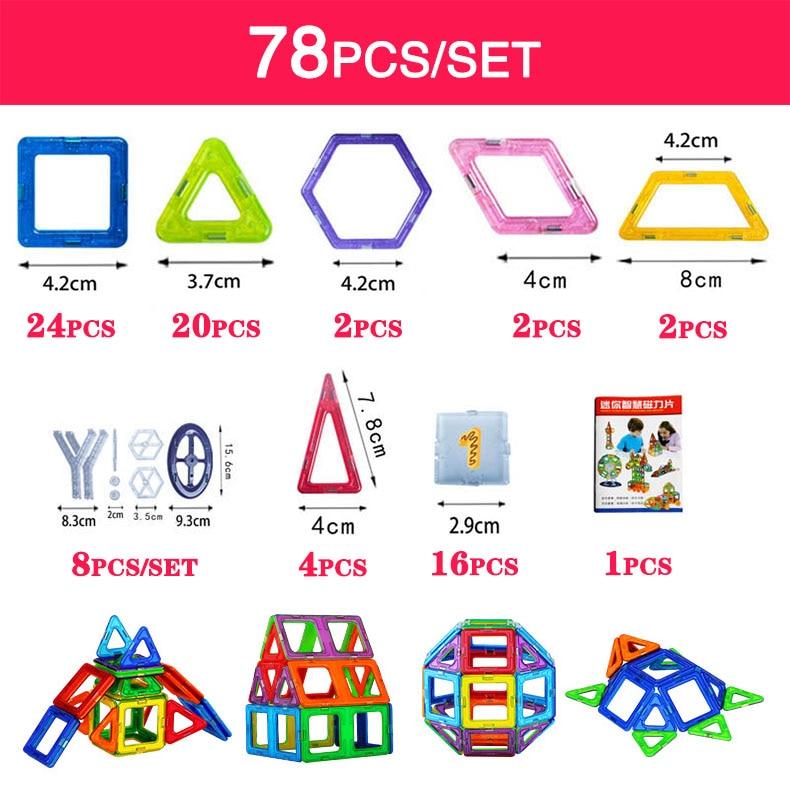 Bd mini 78pcs/152pcs magnetic building blocks toys construction model diy 3d magnetic...