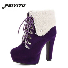 feiyitu  Ankle Boots Woman Flock High Heel Short Women Winter Warm Shoes Platform Sexy Fashion Brand Red