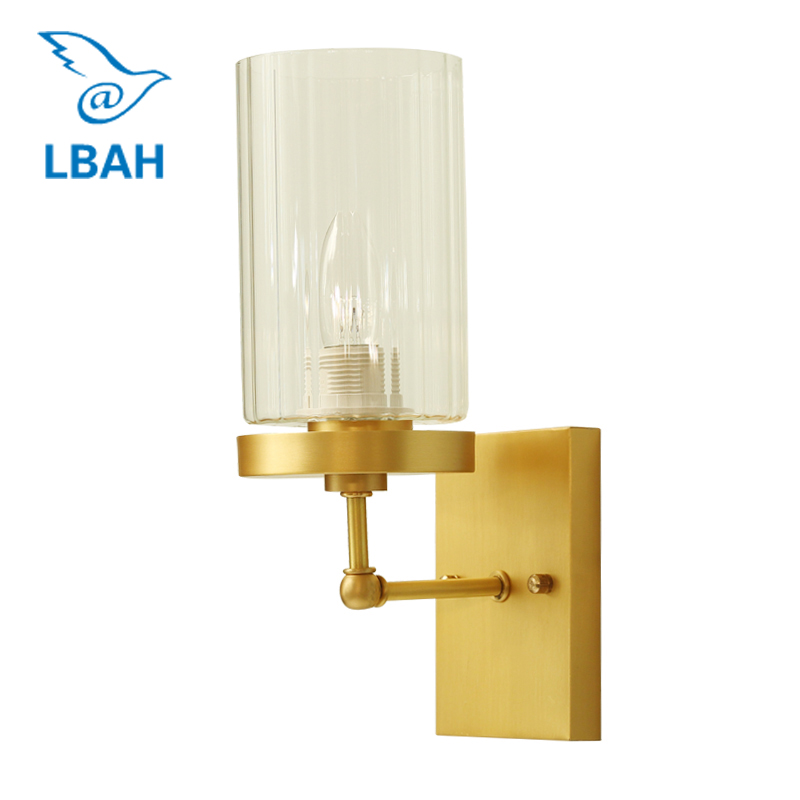 American wall lamp glass llanterns of the head of a bed bedroom all copper contracted sitting room staircase corridor lights free shipping new pd100f12ac module