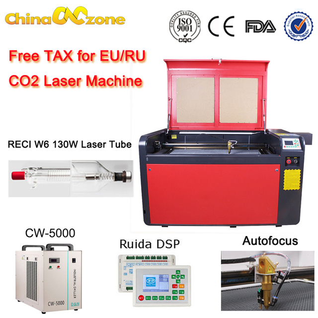 Co2 Laser Engraving Machine RECI 130W W6 220V Cutting Machine CW5000 Chiller 1000x600mm Autofocus Laser Head