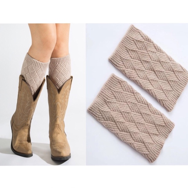 New Womens Cotton Knitted Solid Leg Warmer Protection Warm Boot
