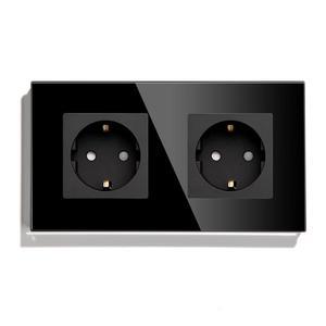 Image 2 - Bseed Dubbele Socket Eu Standaard Stopcontact Wit Zwart Gloden Crystal Glass Panel 157mm16A 110V 250V