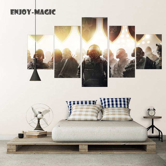 Home Decor Canvas Poster Rainbow Six Siege Painting Wall Art Modern 5 Piece Oil Picture