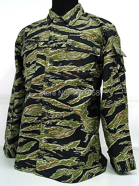 US Army Vietnam War Tiger Stripe Camo BDU Uniform Set Tactical Combat Uniform set For Tactical Gear usmc digital urban camo v3 bdu uniform set war game tactical combat shirt pants ghillie suits