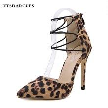 TTSDARCUPS New European American Wild Sexy Comfortable Leopard Ribbon High-heeled Sandals Thin Heels Night club pumps 35-40