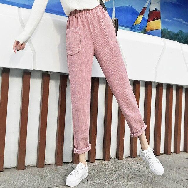 Plus Size Elastic Waist Fashion Warm Fleece Corduroy Elegant Slim Pant Korean Ladies Vintage Solid Trouser Winter Summer Autumn