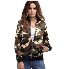 2018 Spring Autumn New pattern  female Fashion Loose coat Camouflage Women zipper Jacket Outwear Top