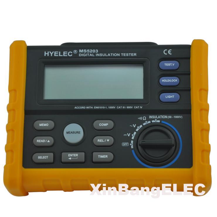 Digital Megger 1000V Digital Insulation Resistance Tester Meter 0.01 Ohm~200 Ohm MegOhmmeter