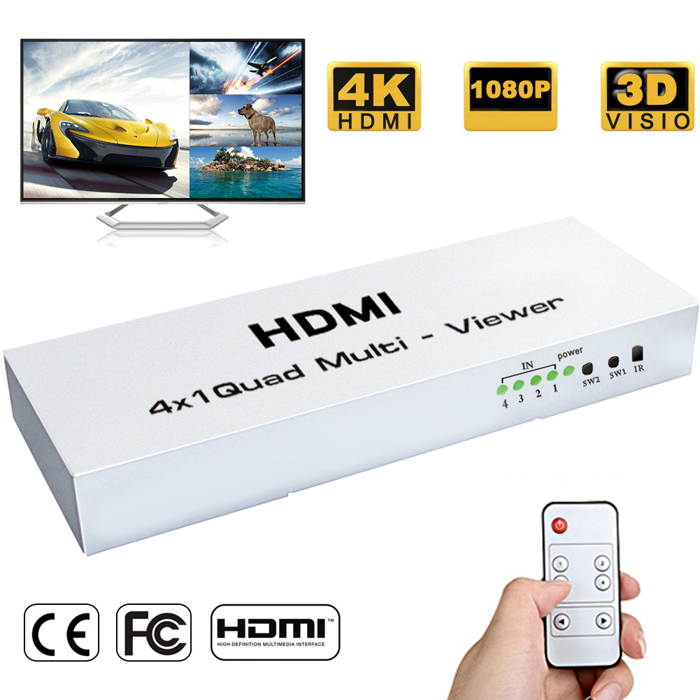 HUB Splitter Switch 4x1 Quad Multi-viewer four Screen Segmentation Seamless Switching Output Switch 1080P For HDTV DVD PS3 STB 4x1 hdmi multi viewer switcher hdmi quad screen real time multiviewer with hdmi fast switching function full 1080p 5 modes