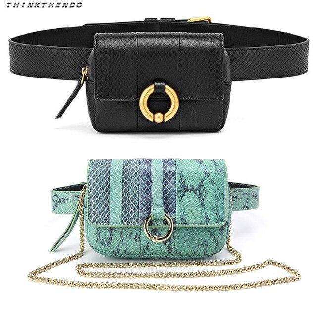 THINKTHENDO Fashion Women Waist Fanny Hip Pack Python Belt Bag Phone Pouch Travel Bum Mini Sling Shoulder Chest Bags Purse New