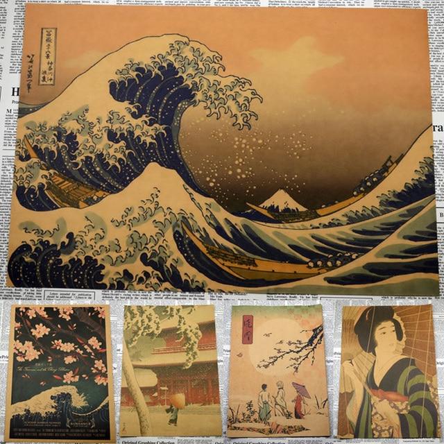 Nostalgia estilo japonés antiguo Kraft papel vintage cartel pared arte artesanías cafetería decoración pegatina Retro impresión Póster