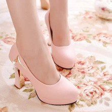 2016 Korean Style Spring New Chunky High Heels Pumps Elegant Wedding Shoes For Bride Asakuchi Wild Chain White Black Pink