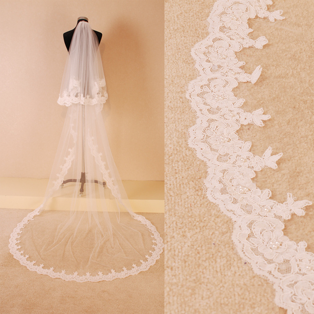 Bridal Veil 2016 High Quality 2 Tier 3M Lace Tulle Wedding Long Veils with Comb Wedding Accessories De Mariage Velos Novia