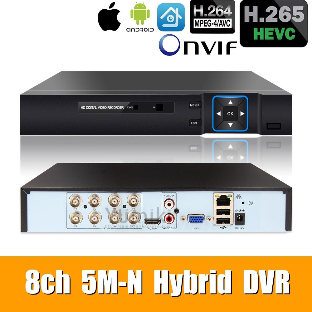 6 w 1 8ch * 5M-N/4M-N AHD DVR nadzór bezpieczeństwa CCTV wideorejestrator 1080N hybrydowy DVR dla analogowej kamery ip AHD CVI TVI XMEYE
