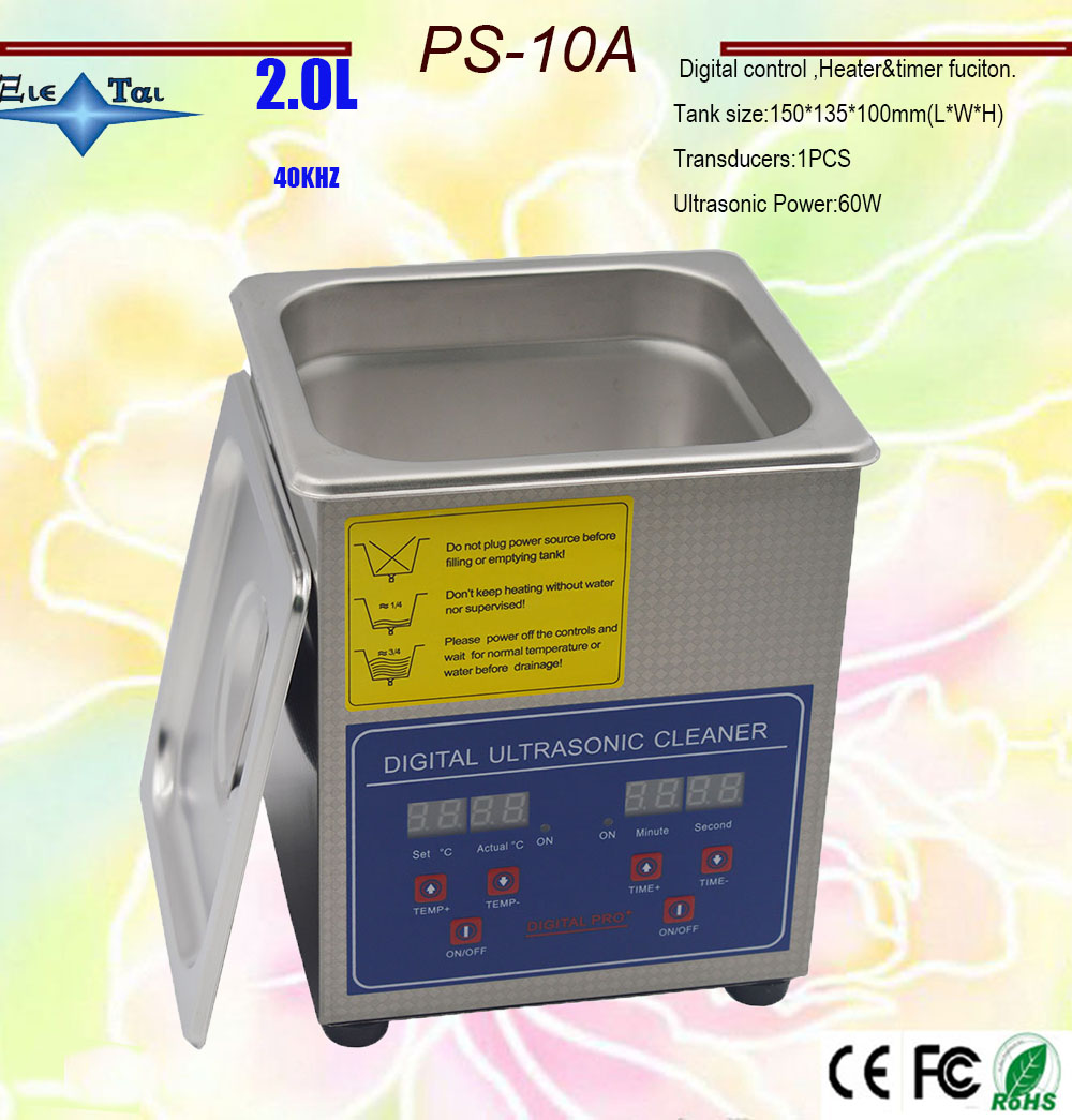 free shipping 110V/220V PS-10A 60W Digital Ultrasonic Cleaner timer&heater fuction 2L for Jewellery watches Clean free basket jeken ps 30a 180w 6 5l digital ultrasonic cleaner with free cleaning basket digital timer lcd display