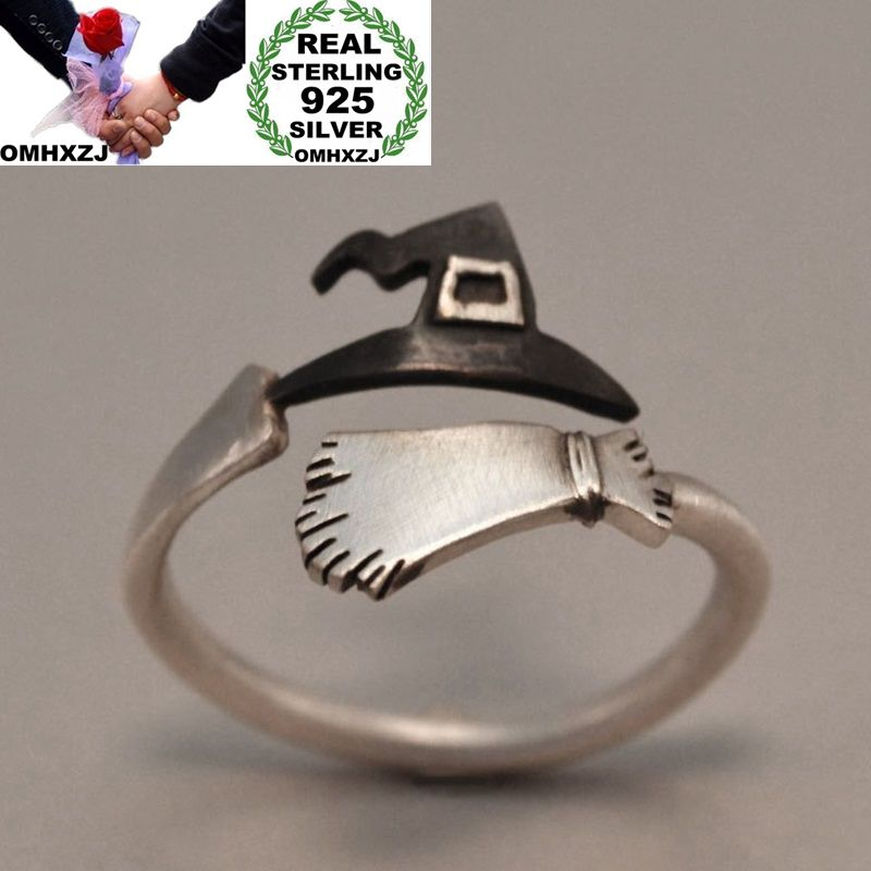 OMHXZJ Wholesale European Fashion Woman Man Party Wedding Gift Silver Witch Hat Broom Open 925 Sterling Silver Ring RR270