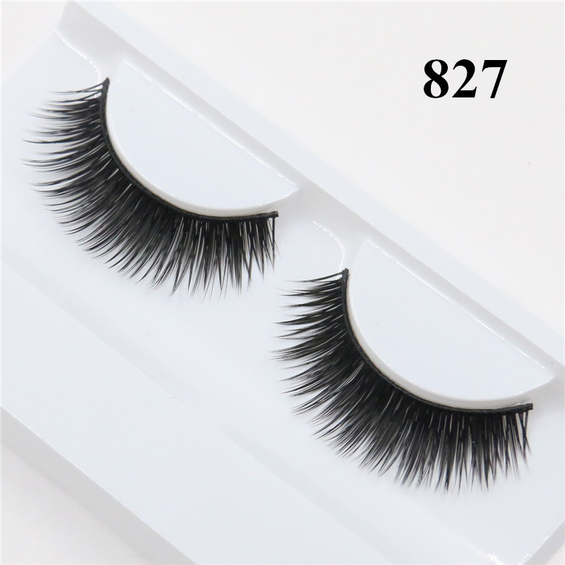 1 Pair Natural False Eyelashes Fake Lashes Long Makeup 3D Mink Lashes Eyelash Extension Mink Eyelashes For Beauty Maquiagem 827