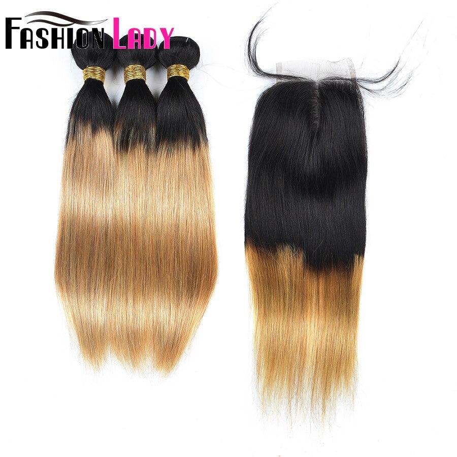 Модные женские предварительно Цветной Ombre бразильский прямые T1B/27 3 предмета человеческих волос пучки с закрытием 4x4 средняя часть non-реми