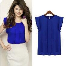 Hot  Women Candy Color Chiffon Round Collar Short Ruffle Sleeve Loose Shirt Blouse Tops